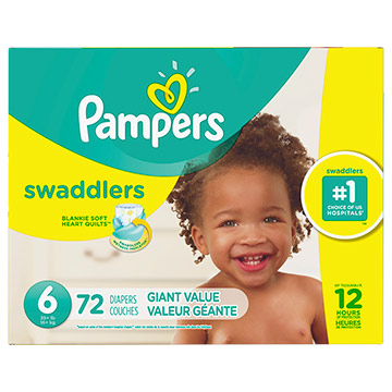 PANAL PAMPERS SWADDLERS T6 GIANT 72 UN