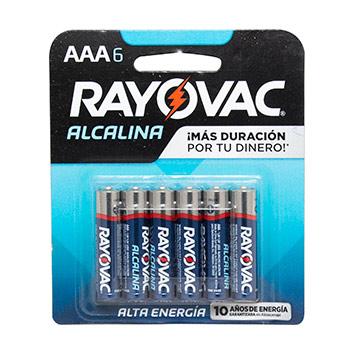 PILAS ALCALINA RAYOVAC 824 AAA 6 UND
