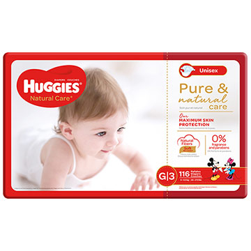 PANAL HUGGIES NATURAL CARE G GIANT 116U