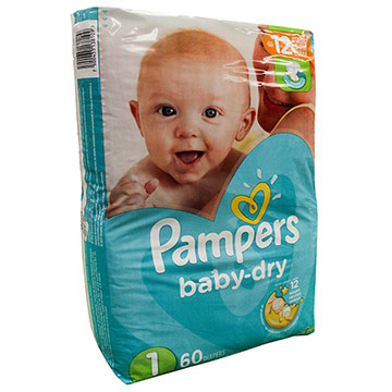 PANAL PAMPERS BABY DRY S1 60EA