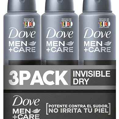 DESODORANTE DOVE SPRAY MEN INVISIBLE 3PK 453ML