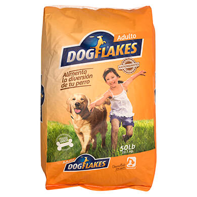 Alimento Dog Flakes perro adulto pollo 50 libras