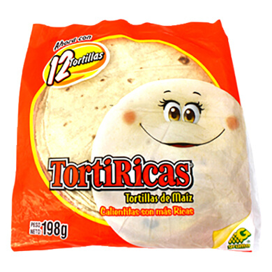 TORTILLA TORTIRICA MAIZ PAQ 12EA 222GR