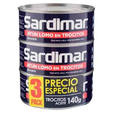 ATUN SARDIMAR TROCITOS 3P CU 140GR