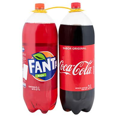 Resfresco gaseoso Coca Cola mas Fanta roja 2 pack 6000 ml