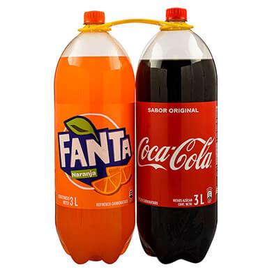 Resfresco gaseoso Fanta naranja mas Coca Cola 2 pack 6000 ml