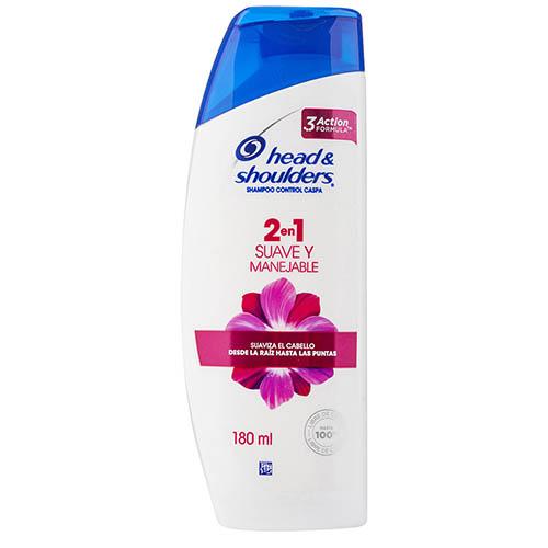 Shampoo Head and Shoulders 2 en 1 suave 180 ml