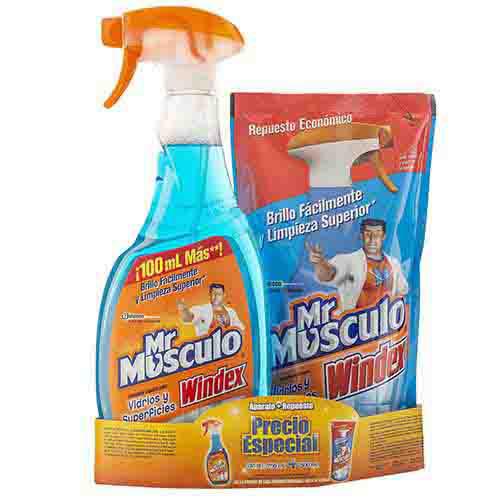 Mr musculo vidrios 750ml y doypack 500 ml