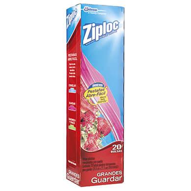 Bolsa Ziploc para alimento grande 20 unidades